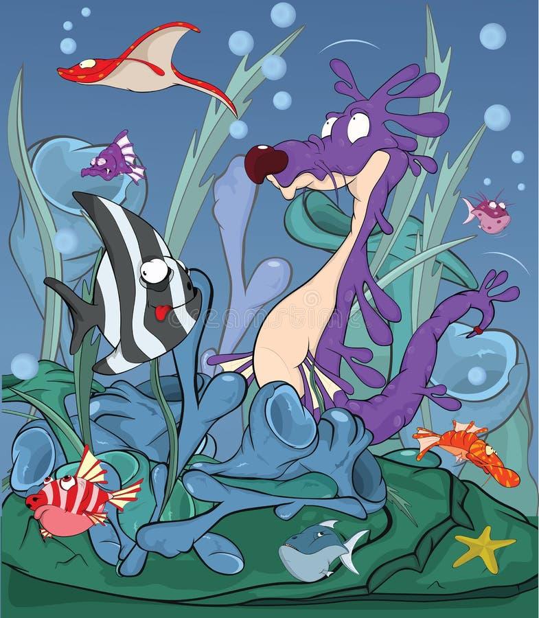 ca fiskar litet tropiskt under vatten för seahorsen vektor illustrationer