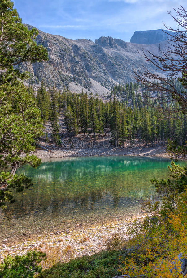 CA-Great Basin National Park-Alpine Lakes Trail. Nevada-Great Basin National Park-Alpine Lakes Trail. Autumn in Great Basin is a most colorful event, which makes stock photo