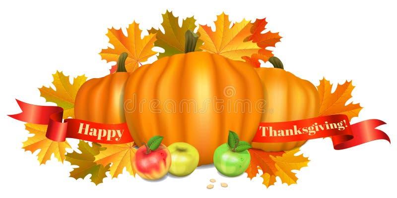 ca karcianego powitania szczęśliwy ilustracj dziękczynienie banie, jabłka royalty ilustracja