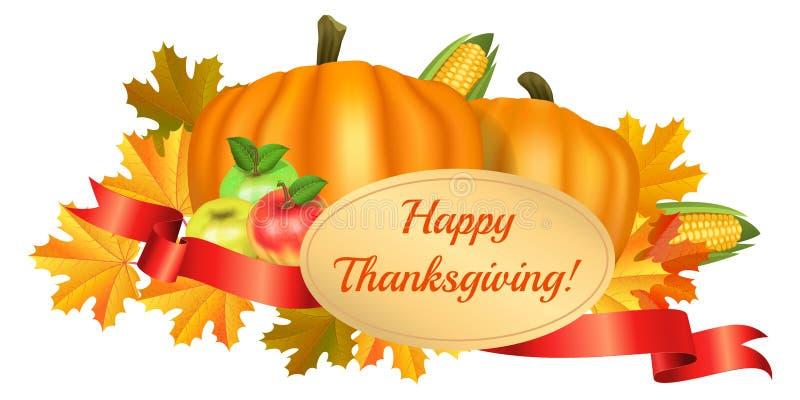 ca karcianego powitania szczęśliwy ilustracj dziękczynienie Banie, kukurudza, jabłka royalty ilustracja