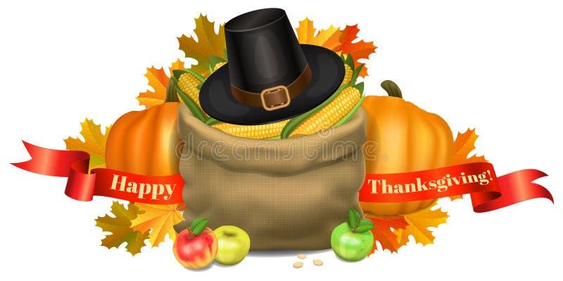 ca karcianego powitania szczęśliwy ilustracj dziękczynienie Banie, torba z kukurudzą royalty ilustracja