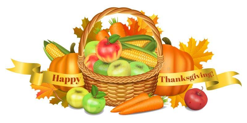 ca karcianego powitania szczęśliwy ilustracj dziękczynienie Kosz z jabłkami, banie ilustracji