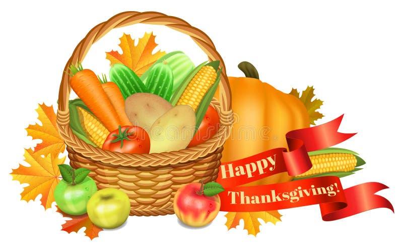 ca karcianego powitania szczęśliwy ilustracj dziękczynienie Kosz z warzywami, jabłka ilustracji