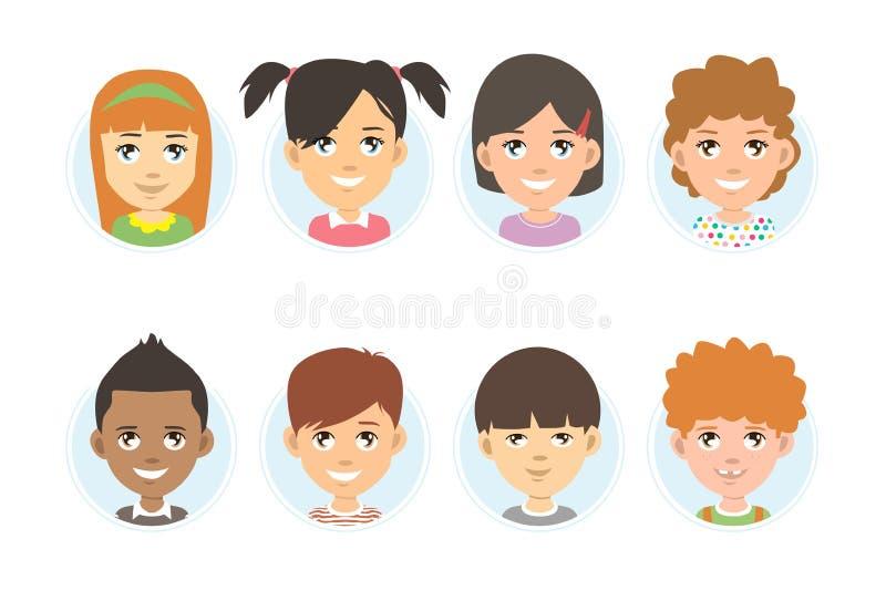 Ca?oa a cole??o do avatar Ilustração do vetor dos retratos das crianças diferentes das nacionalidades, arranjada na forma do círc ilustração stock