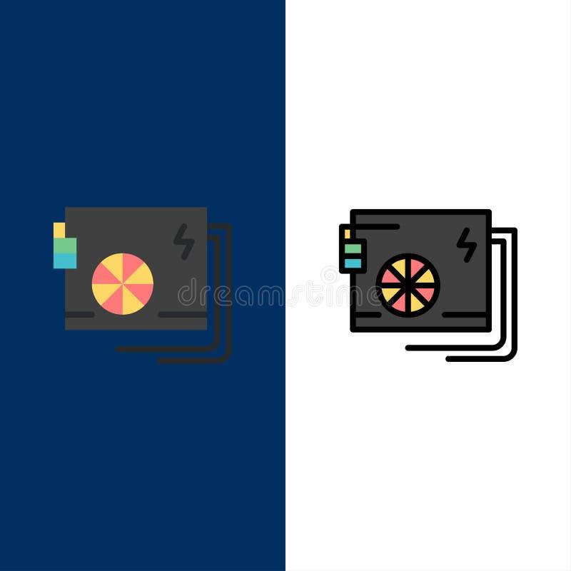 CA, ordenador, parte, poder, iconos de la fuente El plano y la línea icono llenado fijaron el fondo azul del vector libre illustration