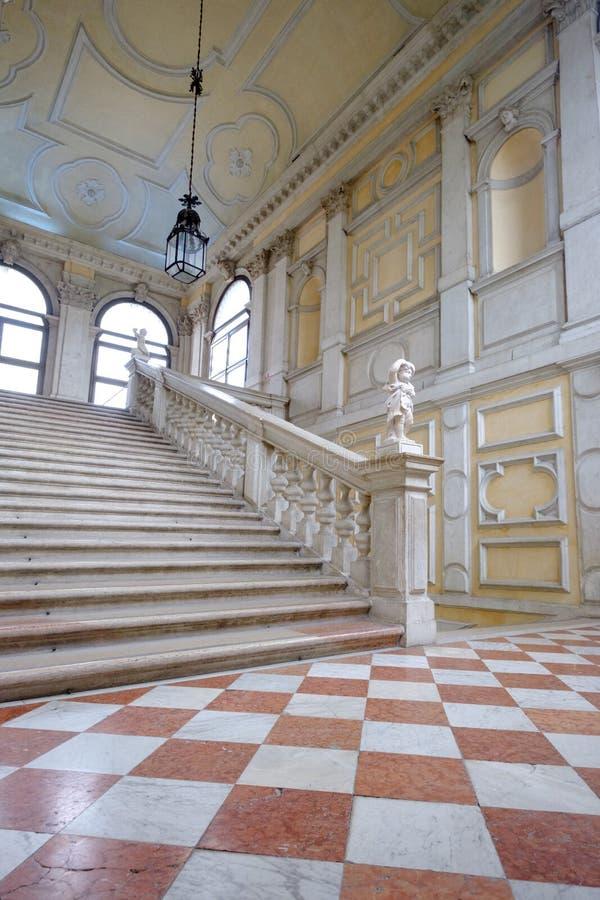 Ca Rezzonico, staircase in public museum, Venice stock photography