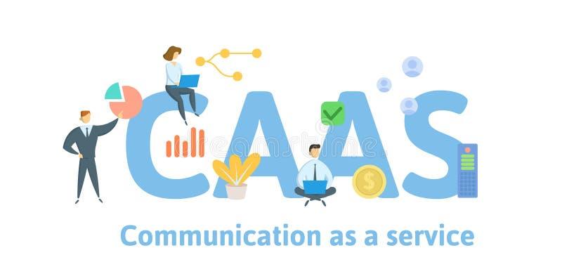 CAAS, Mededeling als dienst Concept met mensen, sleutelwoorden en pictogrammen Vlakke vectorillustratie Ge?soleerd op wit royalty-vrije illustratie