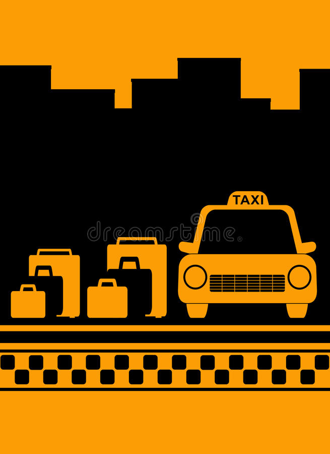 Cab background with bag, city and taxi symbol vector illustration