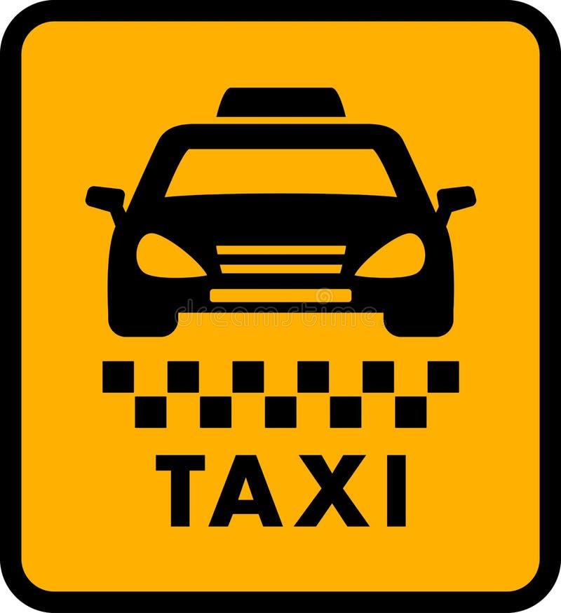 Cab car silhouette on yellow taxi icon. Passenger transportation symbol stock illustration
