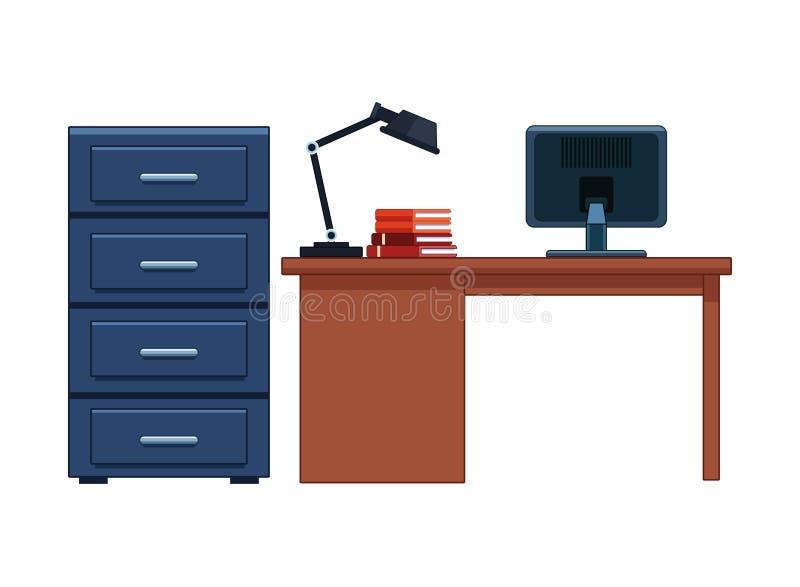 CAB-Datei und Schreibtisch vektor abbildung