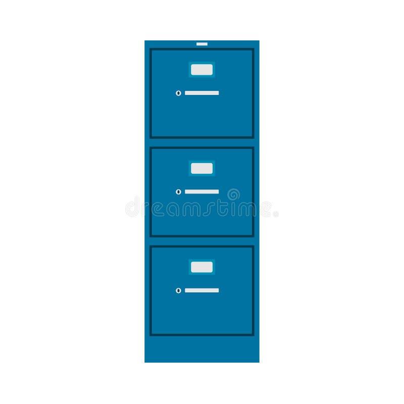 CAB-Datei-Vektorikonenmöbelinnenmanagementfinanzkatalog-Bibliotheksmappe Datenbankmetallkastenbüro Datumsarchiv lizenzfreie abbildung
