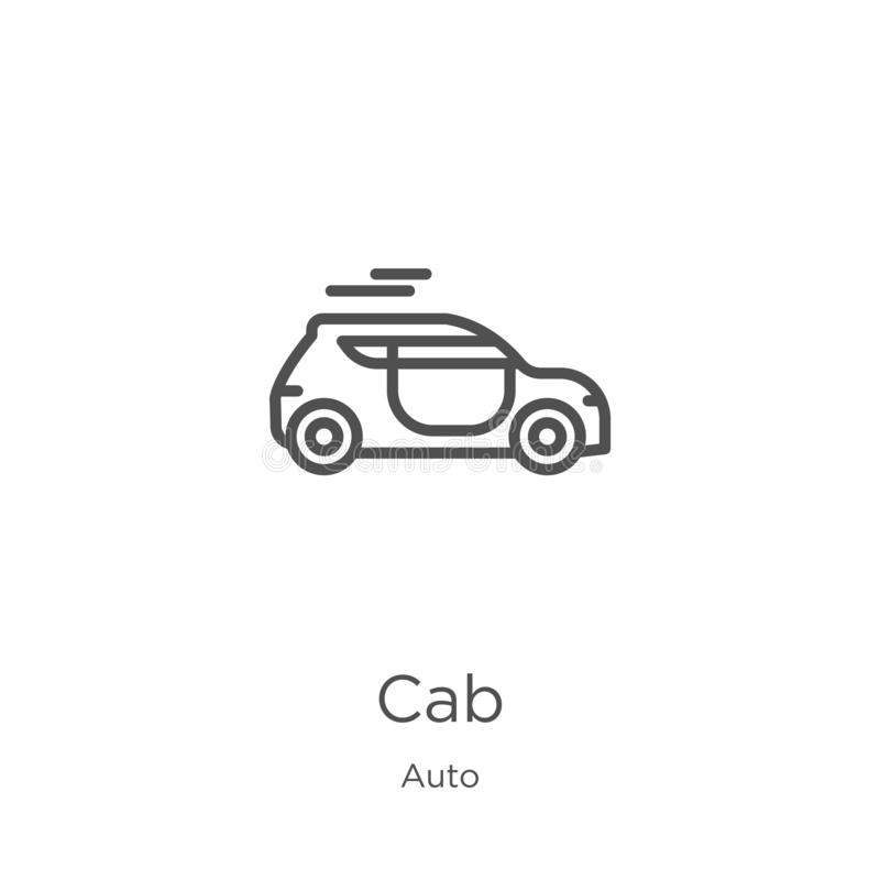 Cab icon vector from auto collection. Thin line cab outline icon vector illustration. Outline, thin line cab icon for website. Cab icon. Element of auto royalty free illustration