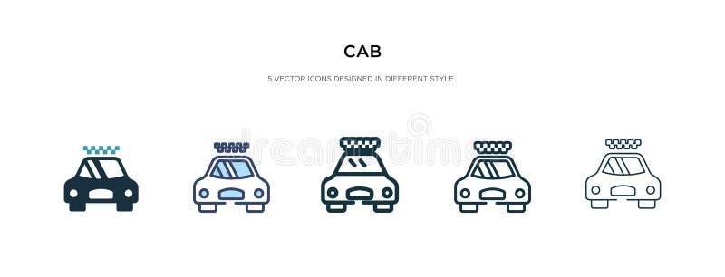Cab-ikon i en annan formatvektorbild två färgade och svarta hytt-vektorikoner konstruerade i fyllda, konturer, linjer och royaltyfri illustrationer