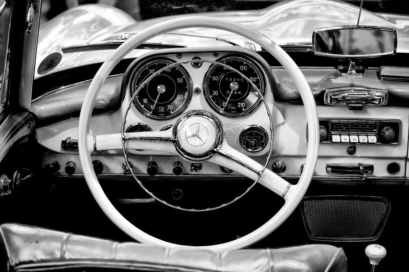 Cab Mercedes-Benz 190 SL (Black and White). BERLIN - MAY 28: Cab Mercedes-Benz 190 SL (Black and White), the exhibition 125 car history - 125 years of history stock photography