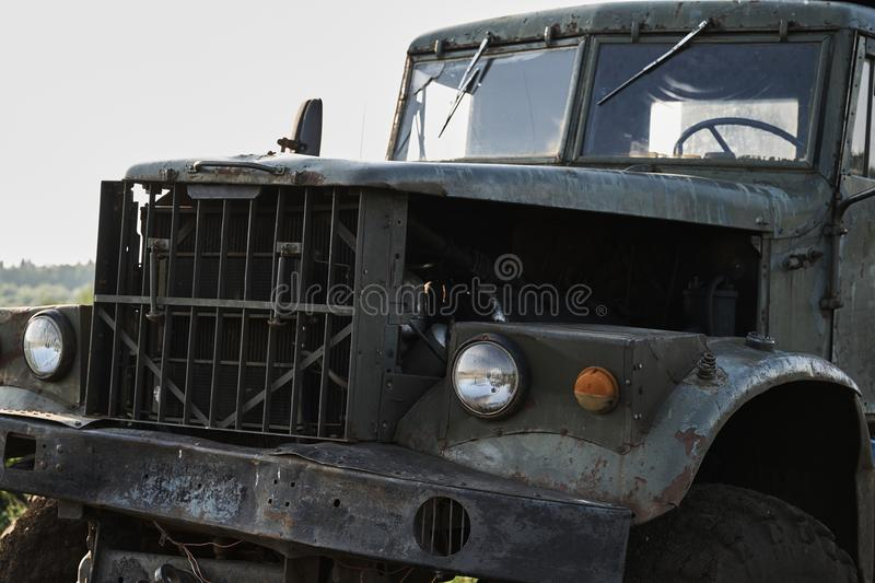 The cab of a retro dump truck close-up.  royalty free stock photos