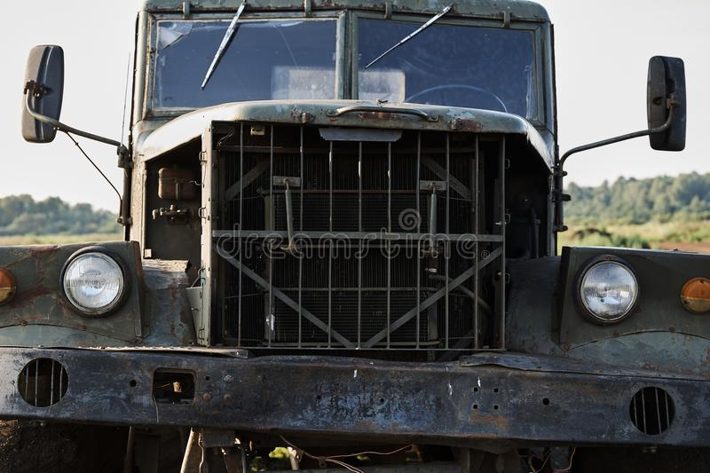 The cab of a retro dump truck close-up.  stock images