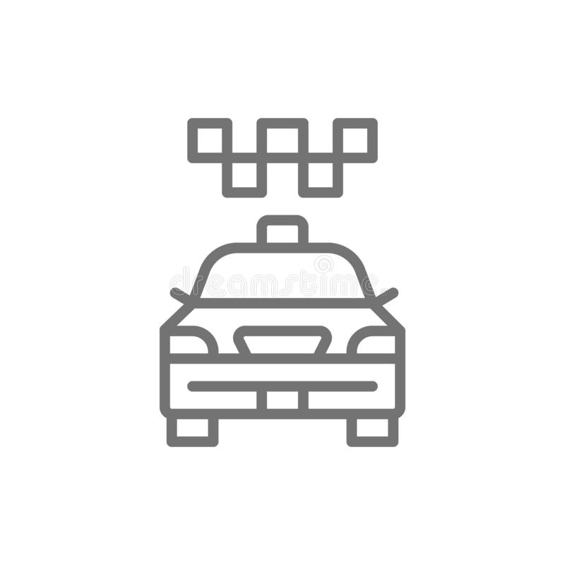 Cab, taxi, city car, public transport line icon. royalty free illustration
