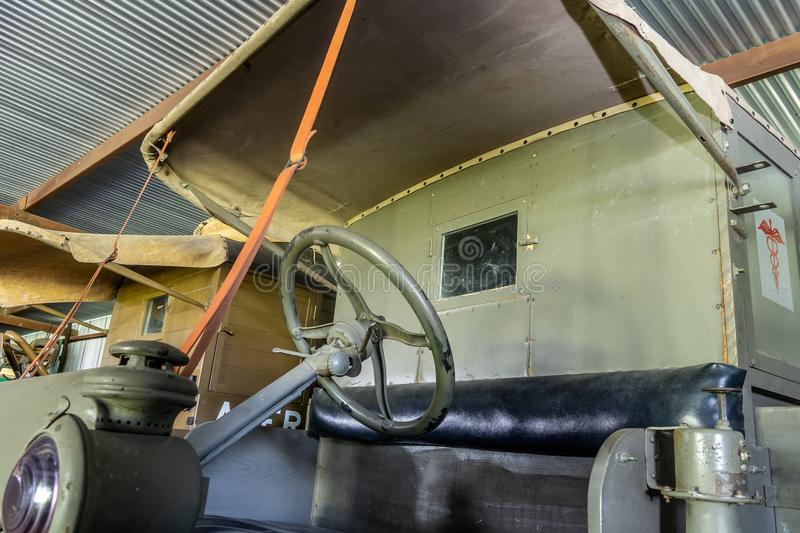 The Cab Of A WWI Era Battlefield Ambulance. Kingsbury, Texas/USA - July 6, 2018 - This restored WWI ambulance was taken to the battle fields of WWI by the royalty free stock image