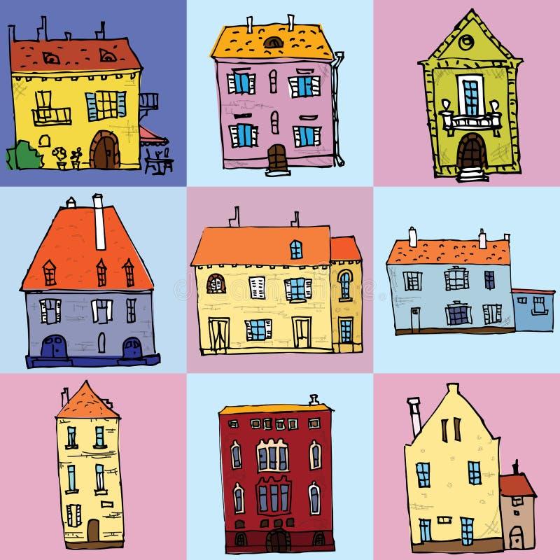 Cabaña de la casa de ciudad y ejemplo aislado sistema clasificado del vector del edificio de las propiedades inmobiliarias libre illustration