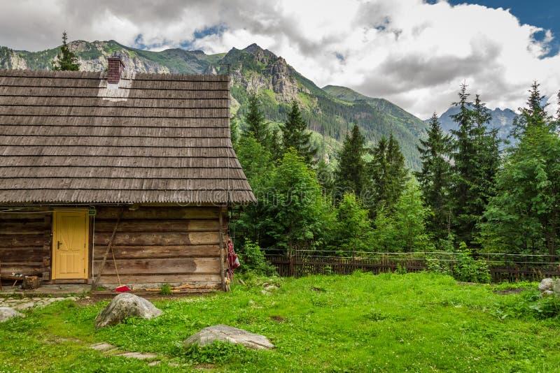 Cabaña de madera del silvicultor en las colinas foto de archivo