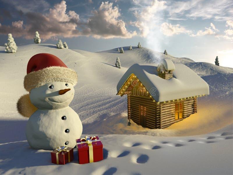 Cabaña de madera en la nieve en la Navidad foto de archivo
