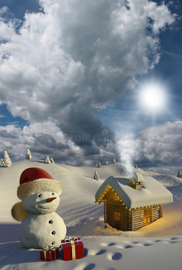 Caba a de madera en la nieve en la navidad stock de - Cabanas de madera en la nieve ...