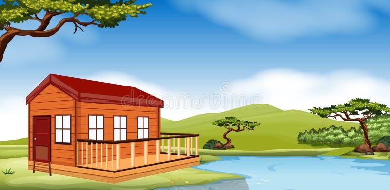 Cabaña de madera por el río ilustración del vector