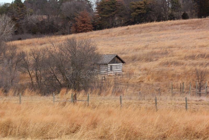 Cabaña de madera sola en la pradera foto de archivo
