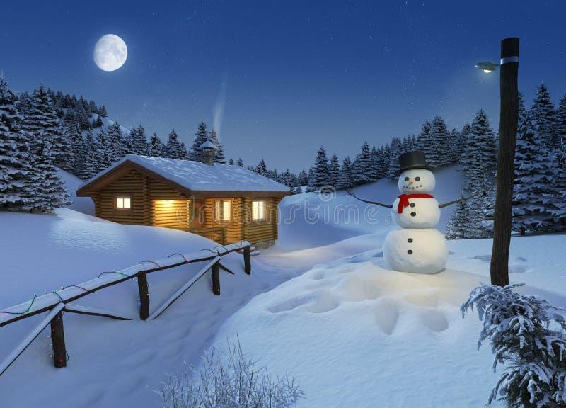 Cabaña del registro en una escena de la Navidad del invierno stock de ilustración