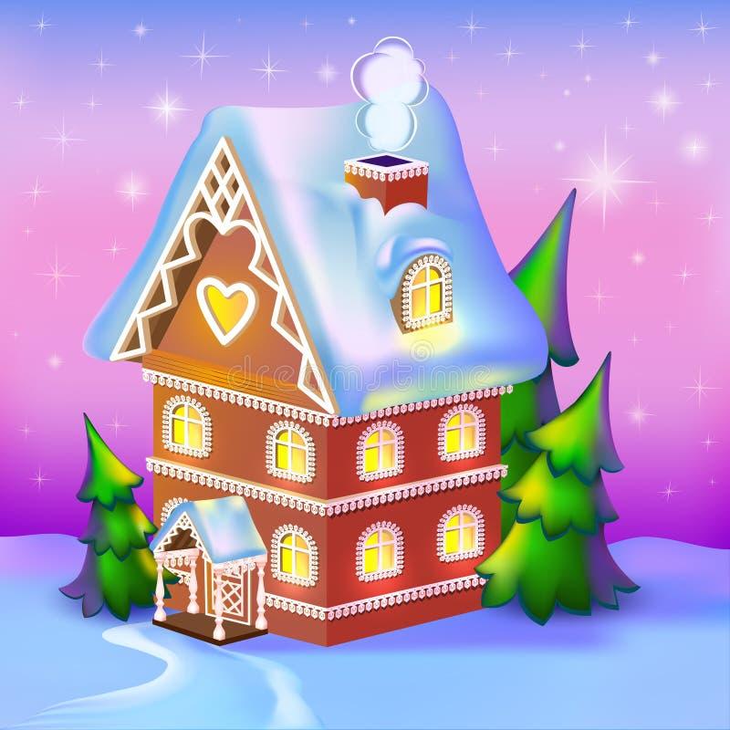 cabaña dreamlike en la nieve libre illustration