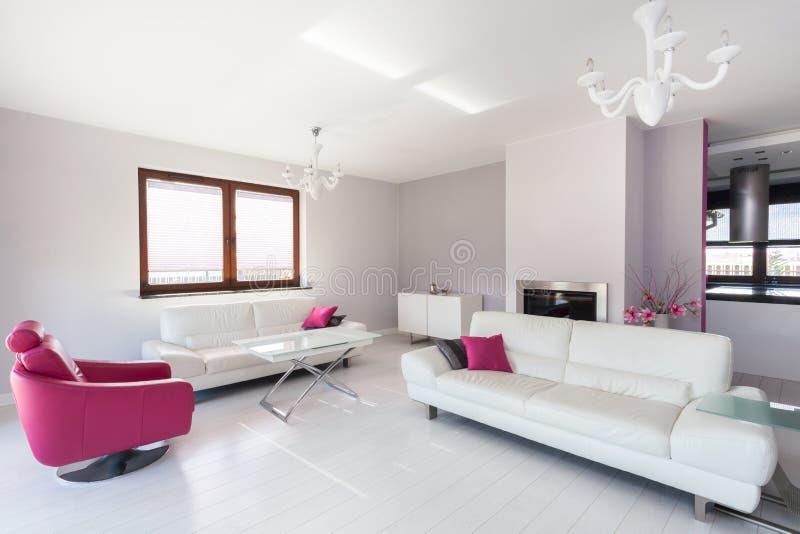 Sala de estar blanca y rosada de la cabaña vibrante - fotografía de archivo libre de regalías