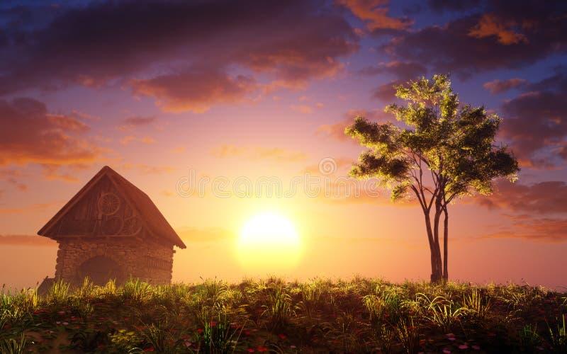 Cabaña y árbol en la colina de la puesta del sol stock de ilustración