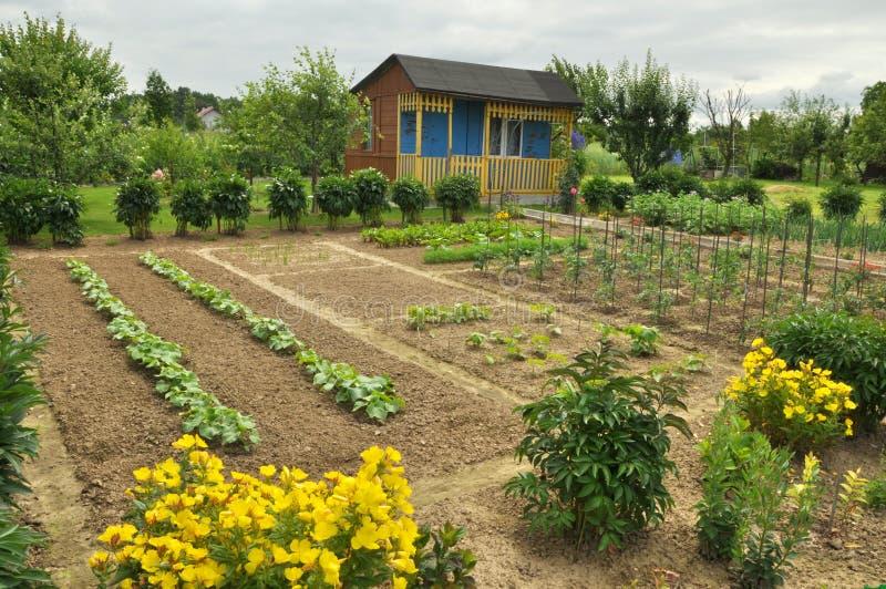 Cabaña y jardín vegetal imagen de archivo