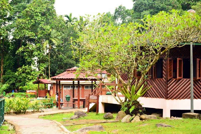 Cabañas Poring de las aguas termales en Sabah, Malasia fotos de archivo