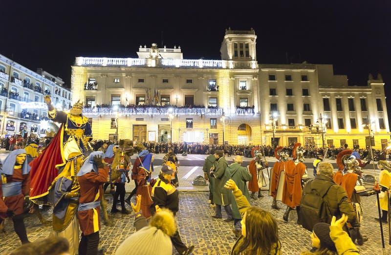 Cabalgata De Los Reyes Magos w mieście Alcoy obrazy royalty free