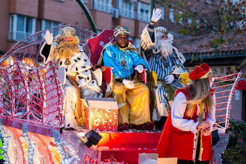 Cabalgata de Reyes Magos a Madrid immagine stock libera da diritti