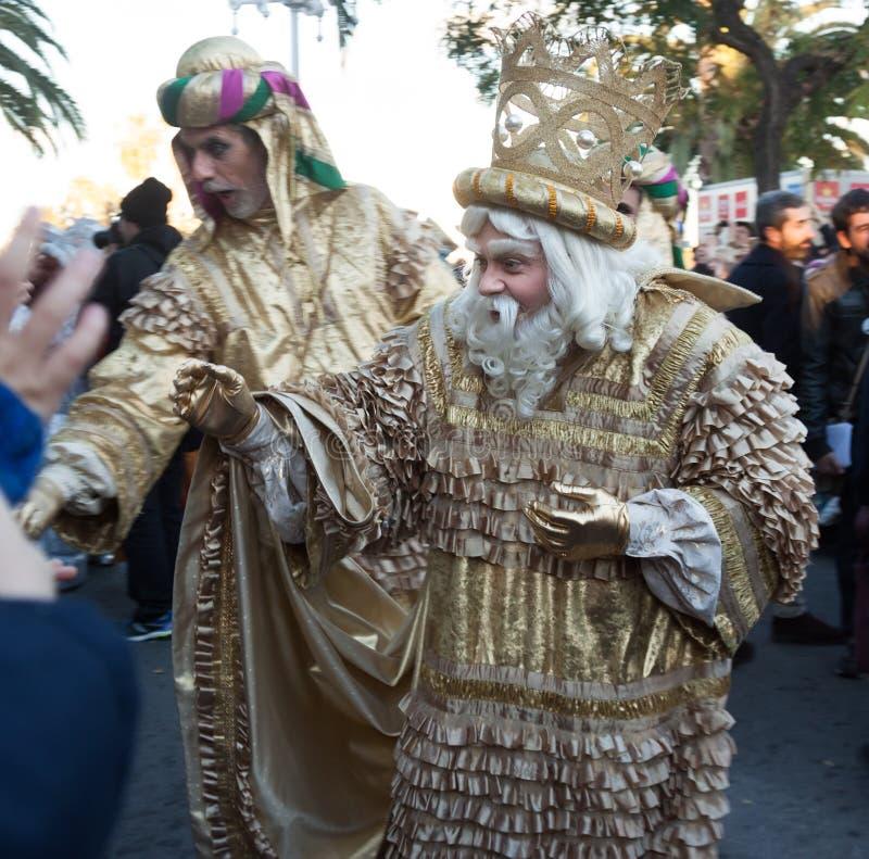 Cabalgata De Reyes Magos w wszystkie Hiszpańskich miastach Melchor obraz royalty free