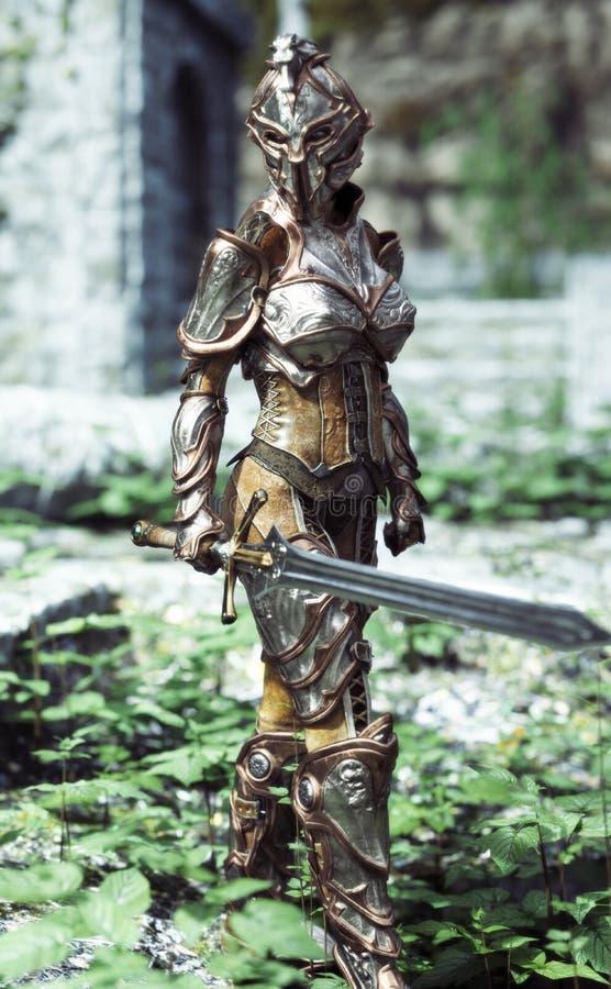 Caballero acorazado femenino con la espada en patrulla stock de ilustración