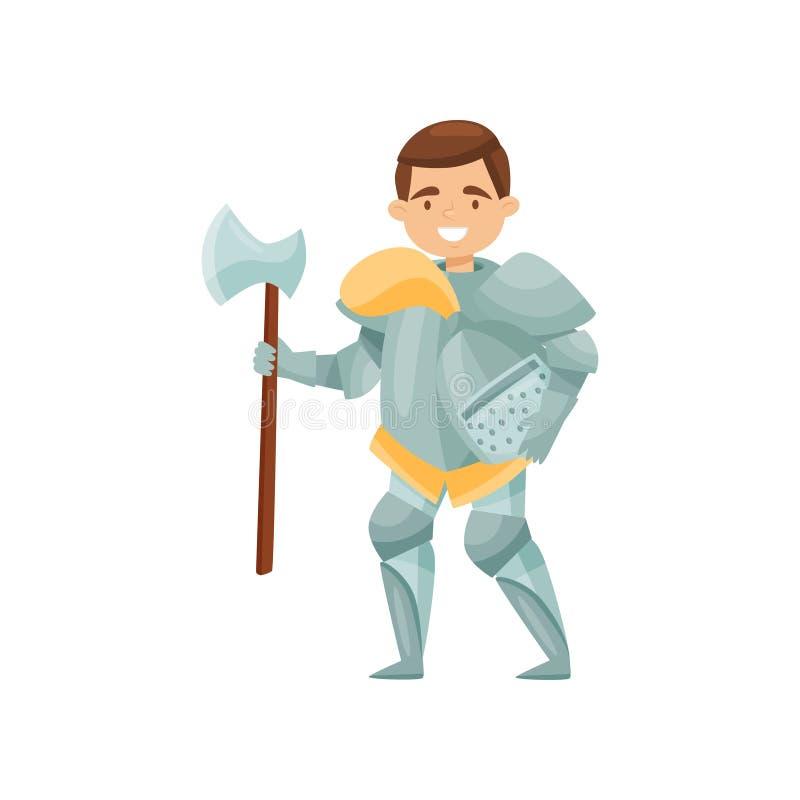 Caballero alegre con el hacha y casco en manos Guerrero medieval en armadura del hierro Soldado real Diseño plano del vector ilustración del vector