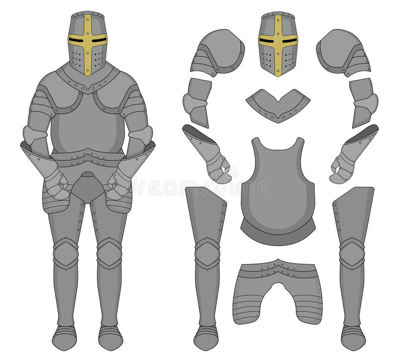 Caballero Armor color stock de ilustración