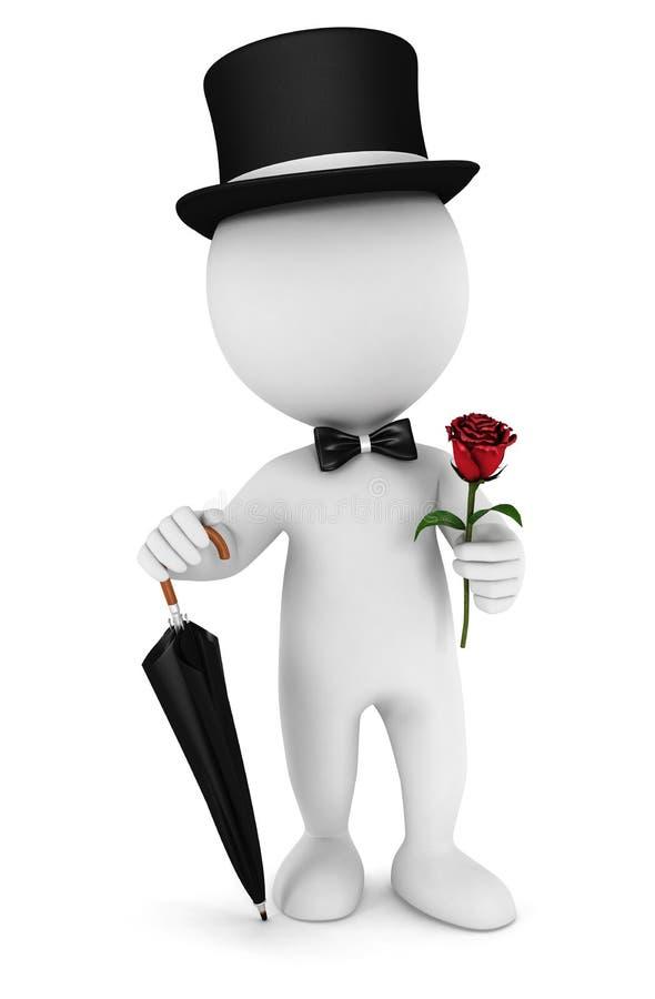 caballero blanco de la gente 3d stock de ilustración
