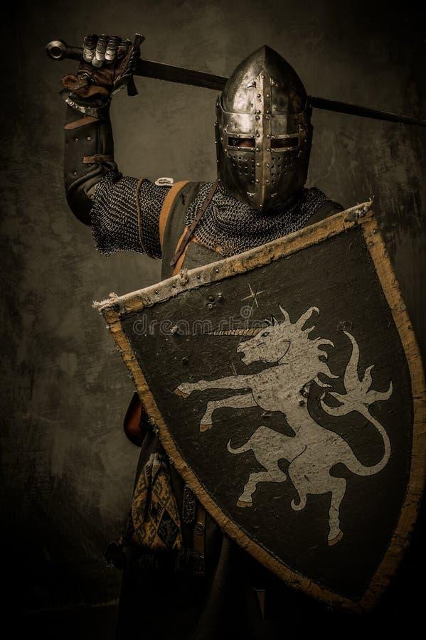 Caballero con la espada y el blindaje fotografía de archivo