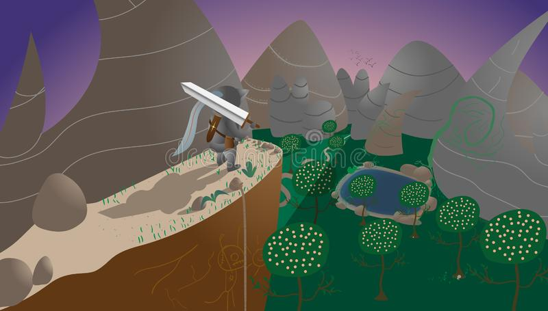 Caballero con una espada, montañas, lago, árboles ilustración del vector