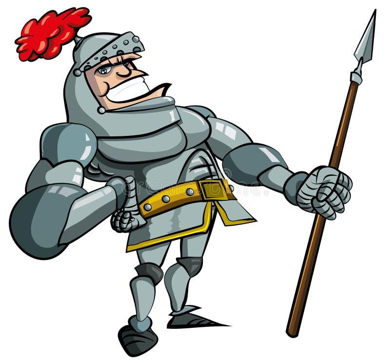 Caballero de la historieta en armadura con una lanza ilustración del vector