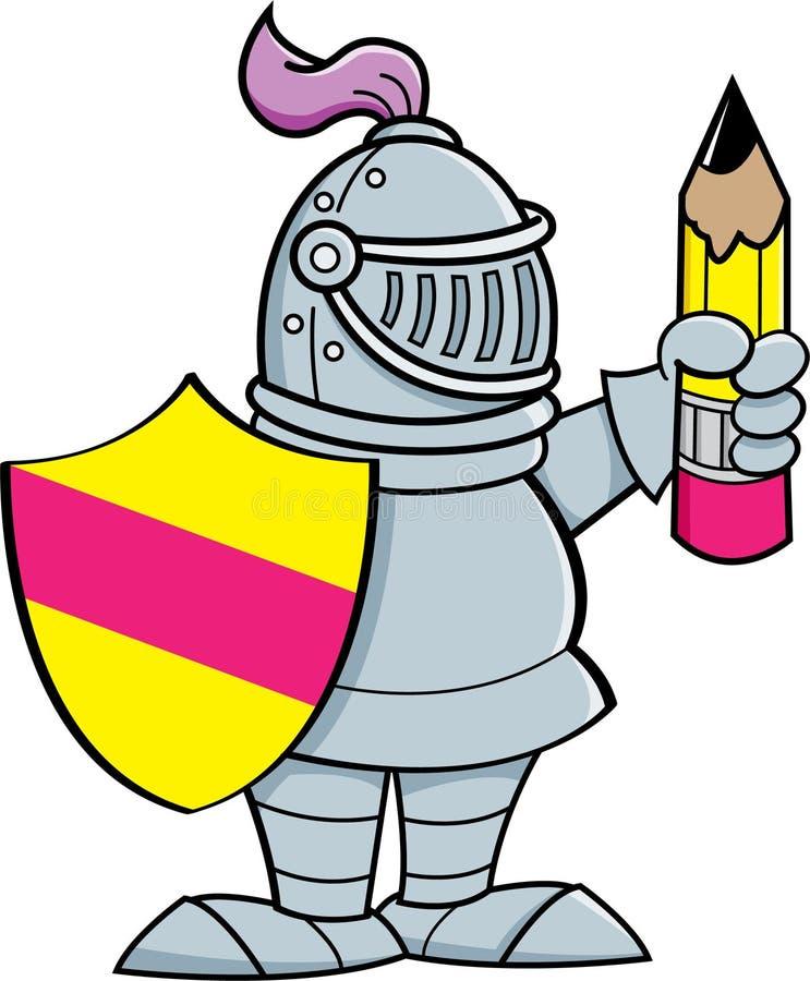 Caballero de la historieta que sostiene un escudo y un lápiz ilustración del vector