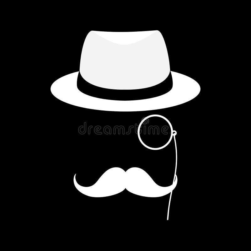 Caballero de Londres con el sombrero y el monóculo Agente secreto Hombre de negocios, mafia, detective Ilustración de la historie fotografía de archivo