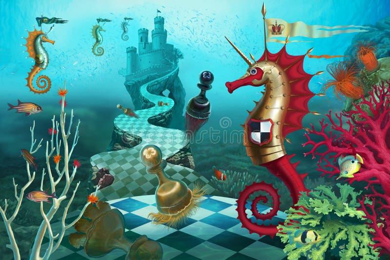 Caballero del ajedrez en el mundo subacuático stock de ilustración