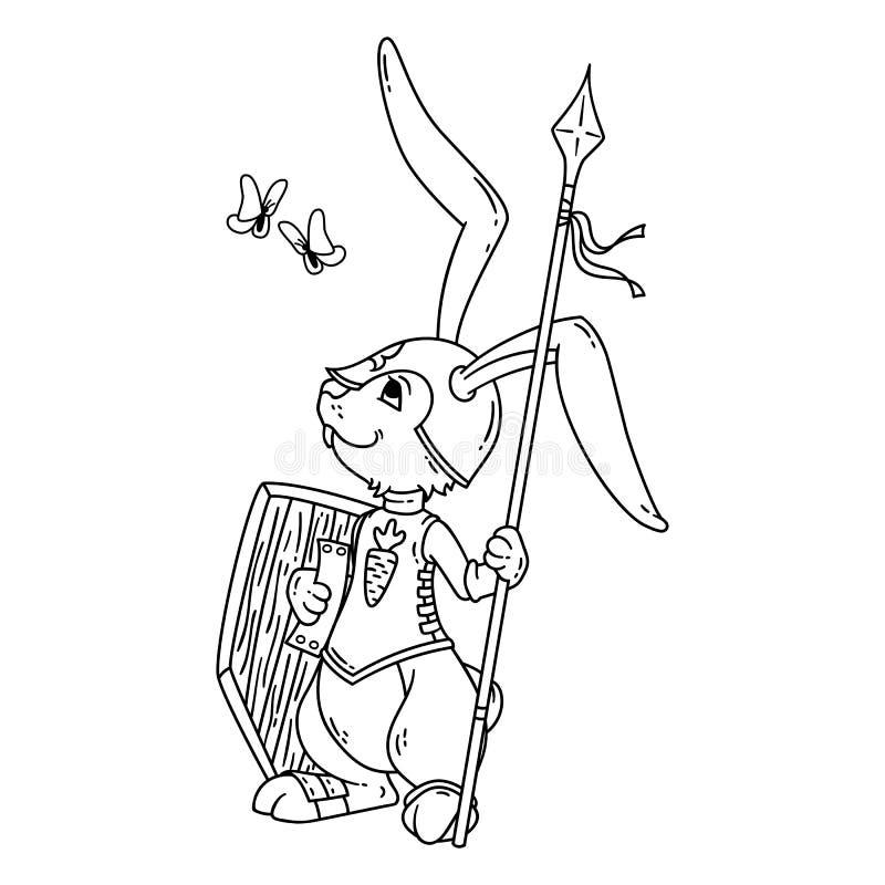 Caballero Del Conejito Con Una Lanza Y Un Escudo Ilustración del ...