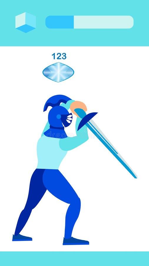 Caballero del guerrero con el ejemplo plano del vector de la espada libre illustration