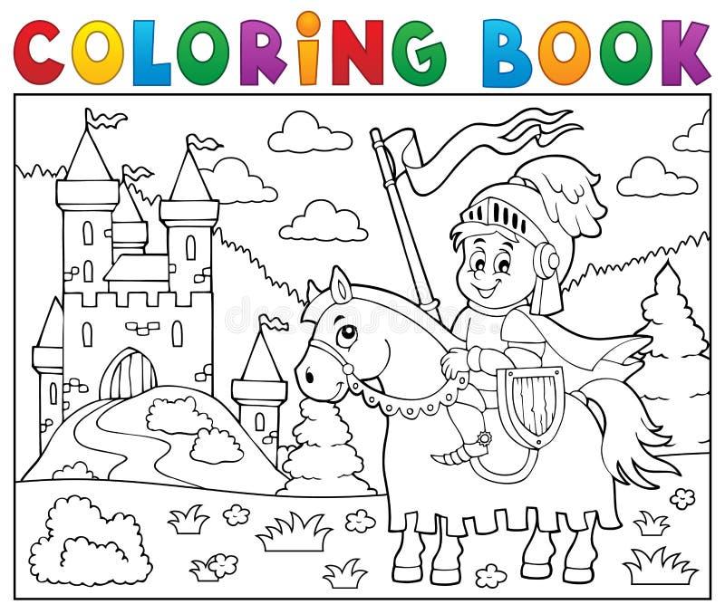 Caballero del libro de colorear en caballo por el castillo ilustración del vector